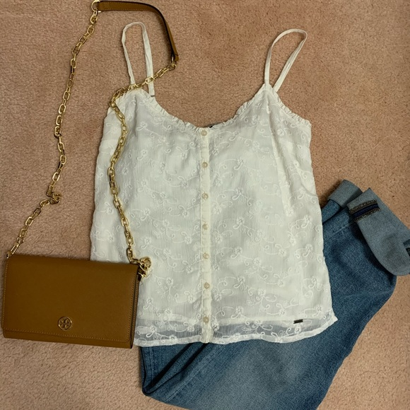 Hollister Embroidery Floral Tank